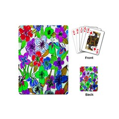 Background Of Hand Drawn Flowers With Green Hues Playing Cards (mini)