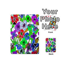Background Of Hand Drawn Flowers With Green Hues Playing Cards 54 (Mini)