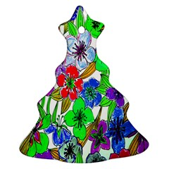 Background Of Hand Drawn Flowers With Green Hues Ornament (christmas Tree)