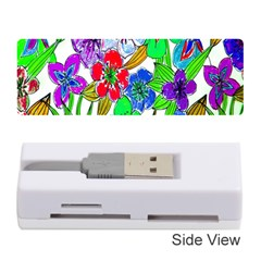 Background Of Hand Drawn Flowers With Green Hues Memory Card Reader (stick)