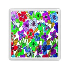 Background Of Hand Drawn Flowers With Green Hues Memory Card Reader (Square)