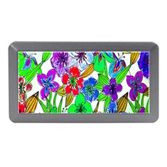 Background Of Hand Drawn Flowers With Green Hues Memory Card Reader (mini)