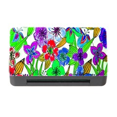 Background Of Hand Drawn Flowers With Green Hues Memory Card Reader with CF