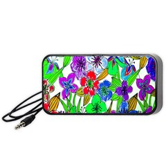 Background Of Hand Drawn Flowers With Green Hues Portable Speaker (black)