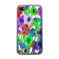 Background Of Hand Drawn Flowers With Green Hues Apple Iphone 4 Case (clear)