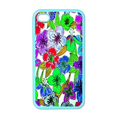 Background Of Hand Drawn Flowers With Green Hues Apple iPhone 4 Case (Color)