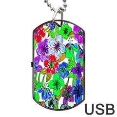 Background Of Hand Drawn Flowers With Green Hues Dog Tag Usb Flash (one Side)
