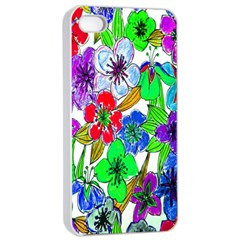 Background Of Hand Drawn Flowers With Green Hues Apple iPhone 4/4s Seamless Case (White)