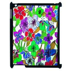 Background Of Hand Drawn Flowers With Green Hues Apple Ipad 2 Case (black)