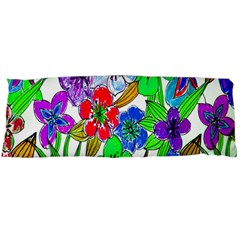 Background Of Hand Drawn Flowers With Green Hues Body Pillow Case Dakimakura (Two Sides)