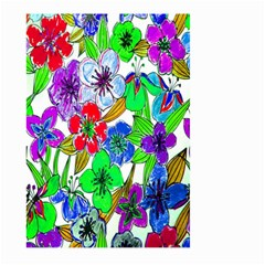 Background Of Hand Drawn Flowers With Green Hues Large Garden Flag (Two Sides)