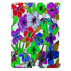 Background Of Hand Drawn Flowers With Green Hues Apple Ipad 3/4 Hardshell Case (compatible With Smart Cover)
