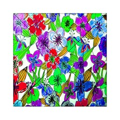 Background Of Hand Drawn Flowers With Green Hues Acrylic Tangram Puzzle (6  x 6 )