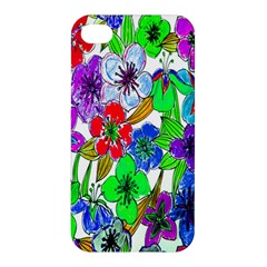 Background Of Hand Drawn Flowers With Green Hues Apple iPhone 4/4S Premium Hardshell Case
