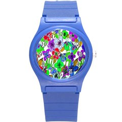 Background Of Hand Drawn Flowers With Green Hues Round Plastic Sport Watch (s)