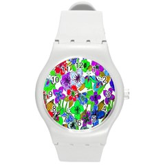 Background Of Hand Drawn Flowers With Green Hues Round Plastic Sport Watch (M)
