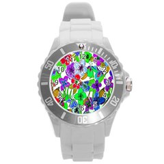 Background Of Hand Drawn Flowers With Green Hues Round Plastic Sport Watch (l)