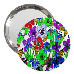 Background Of Hand Drawn Flowers With Green Hues 3  Handbag Mirrors