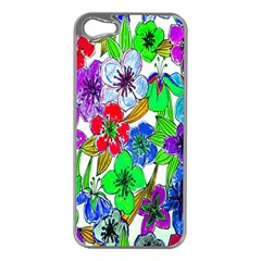 Background Of Hand Drawn Flowers With Green Hues Apple iPhone 5 Case (Silver)
