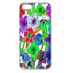 Background Of Hand Drawn Flowers With Green Hues Apple Seamless iPhone 5 Case (Clear)