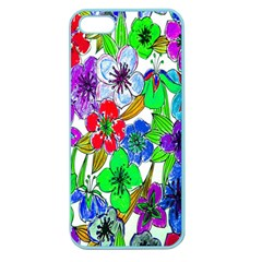 Background Of Hand Drawn Flowers With Green Hues Apple Seamless iPhone 5 Case (Color)