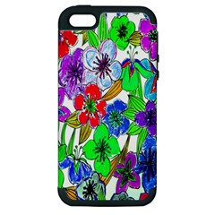Background Of Hand Drawn Flowers With Green Hues Apple iPhone 5 Hardshell Case (PC+Silicone)