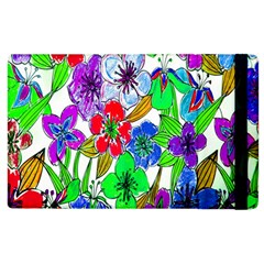 Background Of Hand Drawn Flowers With Green Hues Apple iPad 3/4 Flip Case
