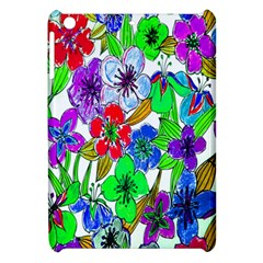 Background Of Hand Drawn Flowers With Green Hues Apple Ipad Mini Hardshell Case