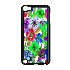 Background Of Hand Drawn Flowers With Green Hues Apple Ipod Touch 5 Case (black)