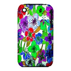 Background Of Hand Drawn Flowers With Green Hues Iphone 3s/3gs
