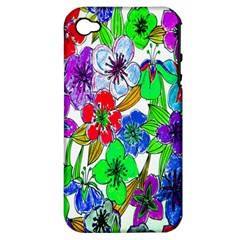 Background Of Hand Drawn Flowers With Green Hues Apple iPhone 4/4S Hardshell Case (PC+Silicone)