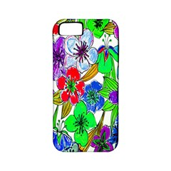 Background Of Hand Drawn Flowers With Green Hues Apple iPhone 5 Classic Hardshell Case (PC+Silicone)