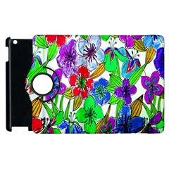 Background Of Hand Drawn Flowers With Green Hues Apple iPad 2 Flip 360 Case