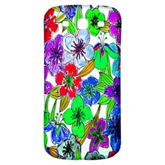 Background Of Hand Drawn Flowers With Green Hues Samsung Galaxy S3 S Iii Classic Hardshell Back Case