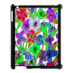 Background Of Hand Drawn Flowers With Green Hues Apple Ipad 3/4 Case (black)