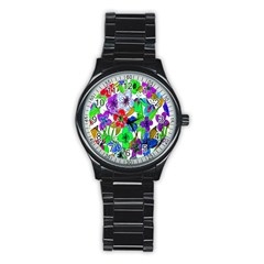 Background Of Hand Drawn Flowers With Green Hues Stainless Steel Round Watch