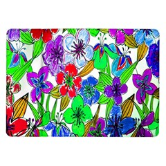 Background Of Hand Drawn Flowers With Green Hues Samsung Galaxy Tab 10 1  P7500 Flip Case