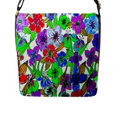 Background Of Hand Drawn Flowers With Green Hues Flap Messenger Bag (L)