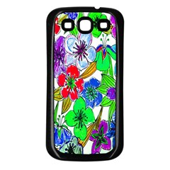 Background Of Hand Drawn Flowers With Green Hues Samsung Galaxy S3 Back Case (Black)