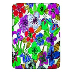 Background Of Hand Drawn Flowers With Green Hues Samsung Galaxy Tab 3 (10 1 ) P5200 Hardshell Case