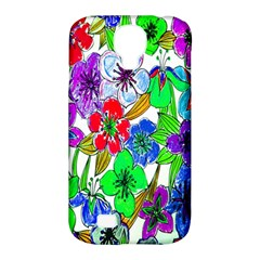 Background Of Hand Drawn Flowers With Green Hues Samsung Galaxy S4 Classic Hardshell Case (PC+Silicone)