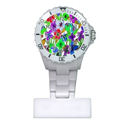 Background Of Hand Drawn Flowers With Green Hues Plastic Nurses Watch
