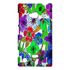 Background Of Hand Drawn Flowers With Green Hues Nokia Lumia 720