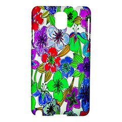 Background Of Hand Drawn Flowers With Green Hues Samsung Galaxy Note 3 N9005 Hardshell Case