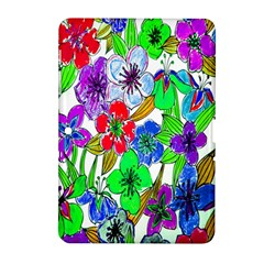 Background Of Hand Drawn Flowers With Green Hues Samsung Galaxy Tab 2 (10 1 ) P5100 Hardshell Case