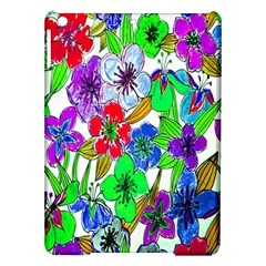 Background Of Hand Drawn Flowers With Green Hues iPad Air Hardshell Cases