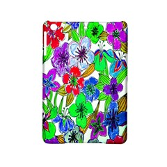 Background Of Hand Drawn Flowers With Green Hues Ipad Mini 2 Hardshell Cases