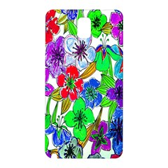 Background Of Hand Drawn Flowers With Green Hues Samsung Galaxy Note 3 N9005 Hardshell Back Case