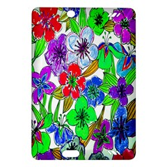 Background Of Hand Drawn Flowers With Green Hues Amazon Kindle Fire HD (2013) Hardshell Case