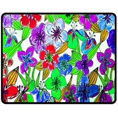 Background Of Hand Drawn Flowers With Green Hues Double Sided Fleece Blanket (Medium)
